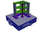 Maillage du modèle de la maquette SMART et de la table vibrante AZALEE du CEA Saclay