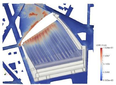 Cartographie de vitesses d'air pour un vent incident NNO sur la gare de Paris-Saint-Lazare